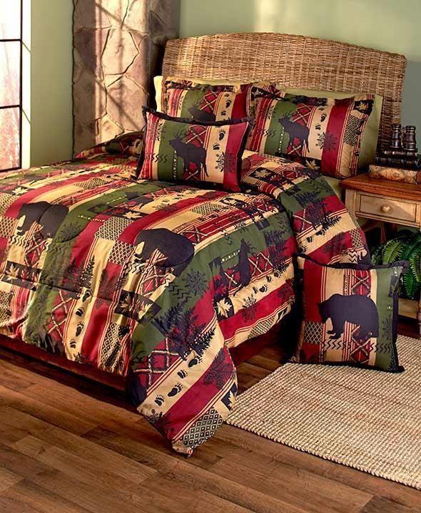 New 5 Pc Woodland Cabin Dakota Lodge Comforter Set Black Bear Pine