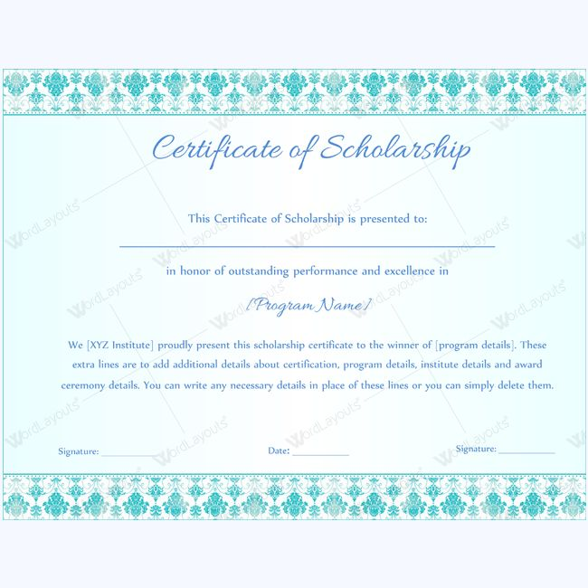 scholarships certificate template
