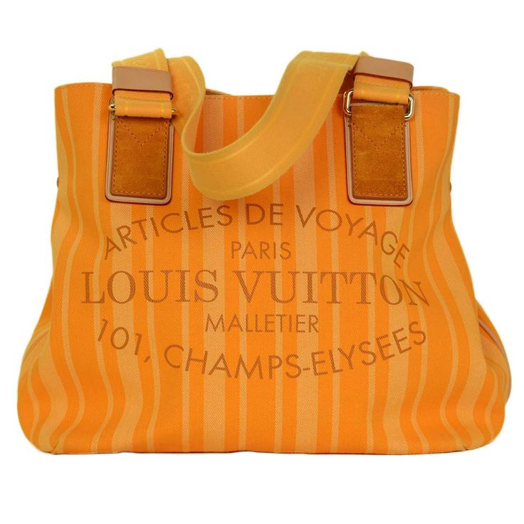 Louis Vuitton Orange Passion 2012 Cabas Raye PM Tote Bag | From a collection of rare vintage tote bags at https://www.1stdibs.com/fashion/handbags-purses-bags/tote-bags/