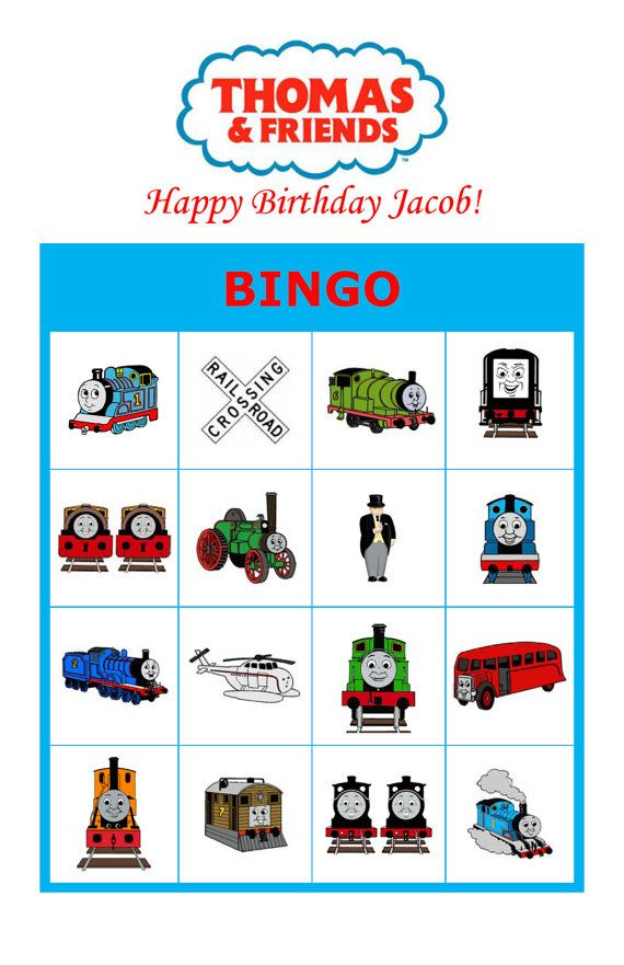 Personalized Thomas and Friends Thomas Train Birthday Party Game Activity Bingo Cards Delivered by Email on Etsy, $6.00