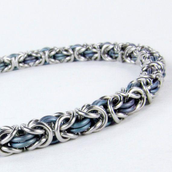 Chainmaille Bracelet  Blue Titanium  Byzantine by fullcirclechains, $40.00