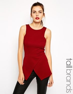 New Look Tall Wrap Front Peplum Top