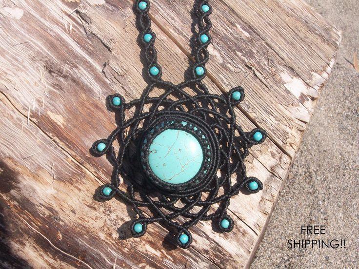 FREE SHIPPING Gemstone macrame pendant - mandala necklace, limited edition, ready to ship, mandala flower, magnesite stone, healing stones!!