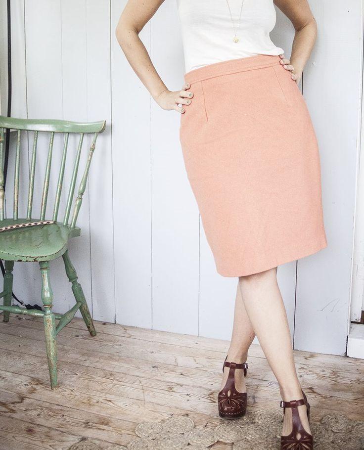 Vintage Rosa Kjol i Ull på Tradera.com - Kjolar storlek 38/40 | Kjolar |