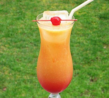 Heat Wave (1.5 oz. Malibu Coconut Rum 1.5 oz. Peach Schnapps 3 oz. Orange Juice 3 oz. Pineapple Juice .5 oz Grenadine)