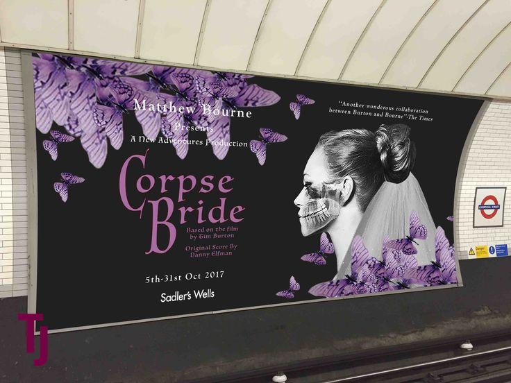 Poster Design for theatre #printdesign #graphicdesign #typography #layout #purple #timburton #corpsebride