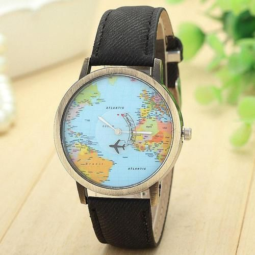 World map Plane Travel Pu leather black band woman teen fashion vacation watch #Unbranded #Casual