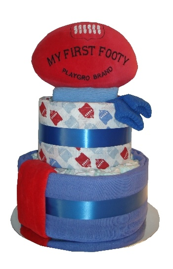 Footy Fun Two Tier Nappy Cake    $75.00  25 Huggies newborn nappies  Soft plush football toy  Coloured muslin wrap  Patterned muslin wrap  Newborn socks  Newborn singlet  Newborn bib