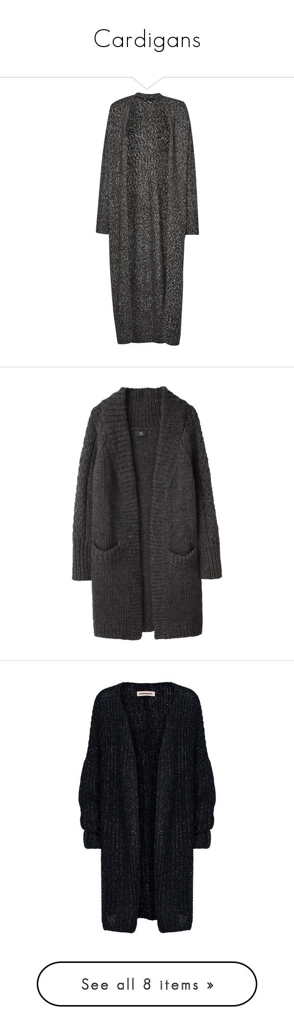 """""""Cardigans"""" by jordan-mobley ❤ liked on Polyvore featuring tops, cardigans, jackets, outerwear, black, clearance, v-neck tops, long slouchy cardigan, side slit maxi top and v neck cardigan"""