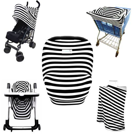 Stretchy Stripes 5 In 1 Baby Car Seat Canopy Stroller Shopping Cart Cover High Chair And Nursing All I