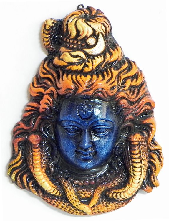 Face of Shiva - Wall Hanging (Terracotta))