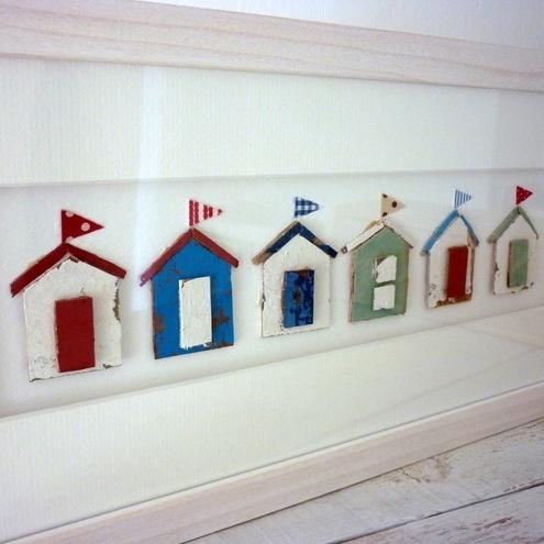 Beach hut wall art easily made and effective nautical for Beach hut ideas