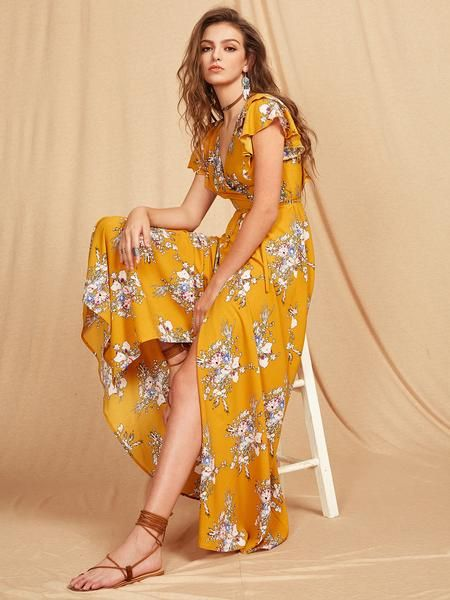 Yellow Wrap Self-Tie Floral Print Criss Cross Back Maxi Dress