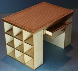 examples of cutting table & other quilt shop display furniture