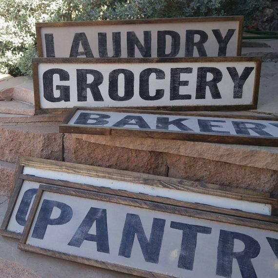 Custom Wood Sign Bakery Market Laundry Pantry Grocery Made to Order Distressed Farmhouse Decor