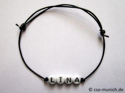 Name bracelet forename leather black                                                                                                                                                                                 Más