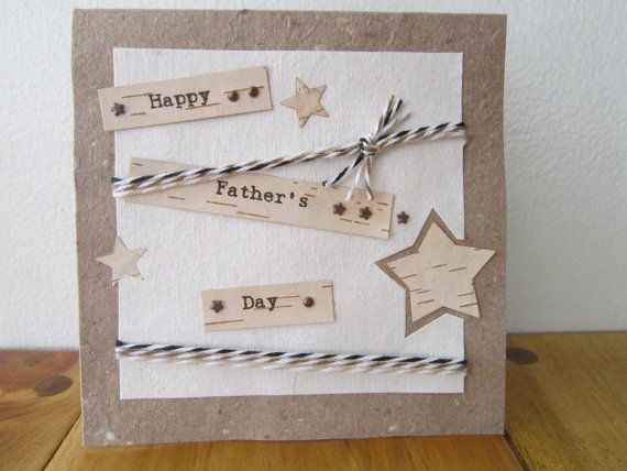 Fathers Day Card   Handmade Paper Card  100 by ElodiesShop on Etsy, $6.00