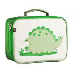 Alister the Dinosaur Coated Canvas Lunchbox by #BeatrixNY - These insulated lunch boxes are a playful way to keep sandwiches & carrot sticks fresh until lunch time. Made with heavy-duty nylon and machine washable for kid- proof durability and easy cleaning. Back side has a name tag and a zipped pocket. Tested PVC free, lead free, and phthalate free.
