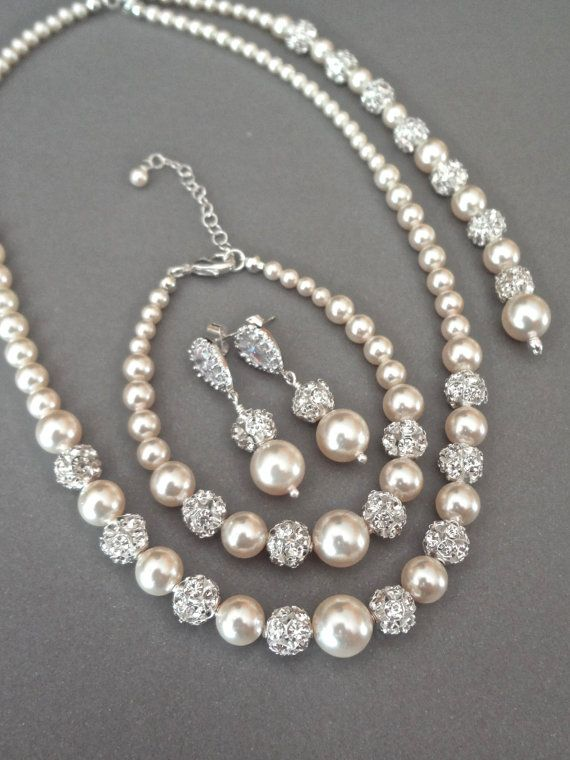 Pearl jewelry set - Swarovski pearls and crystals ~ BLUSH ~ 3 piece set ~ Pearl Bracelet, Earrings,Necklace - Bridal jewelry set ~TOP SELLER