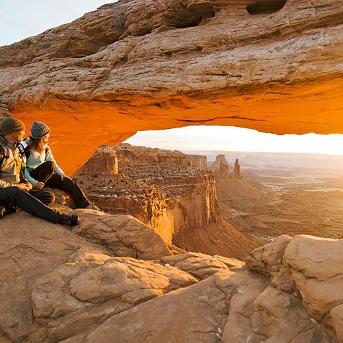 hiking & camping... Mesa Arch in Canyonlands National Park... Utah, USA