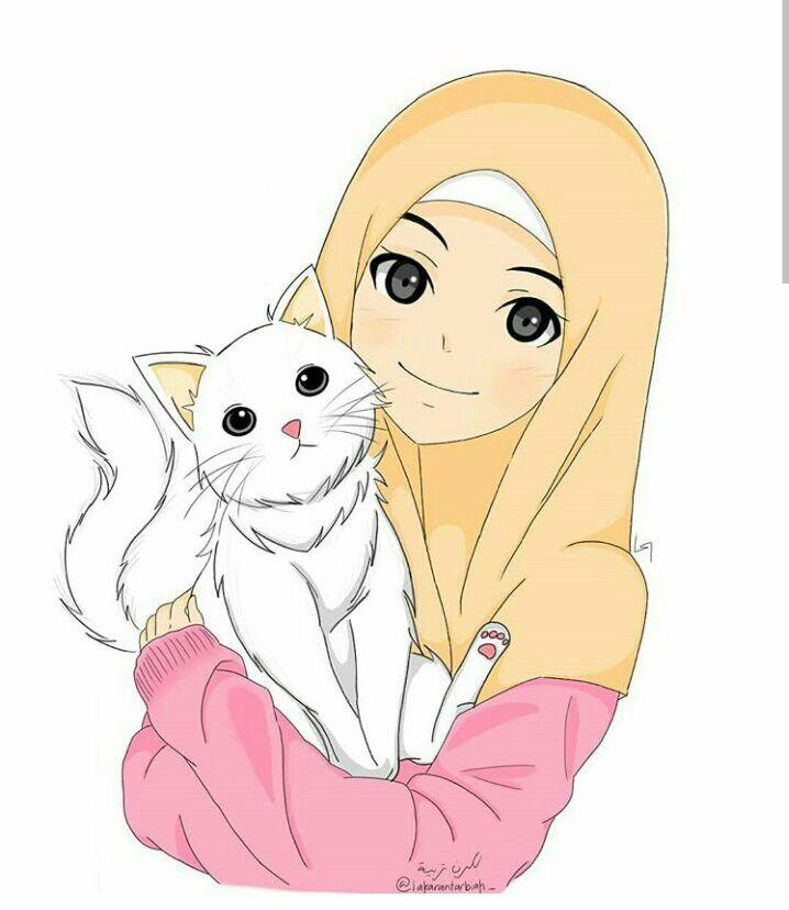 Download 99+  Gambar Kartun Muslimah Dengan Kucing Paling Baru