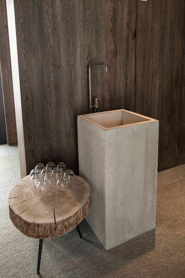 Lavabo d'appoint / bois / beton