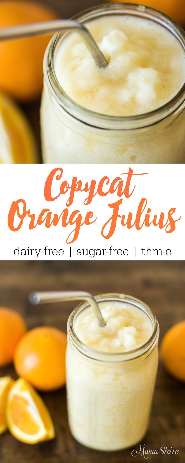 Try this delicious and healthy Copycat Orange Julius that's dairy free! It's super easy to make and so refreshing! Gluten-free, Sugar-free, THM-E