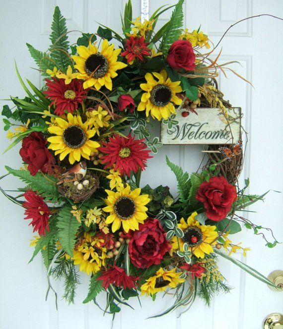 XL COUNTRY FLORAL WREATH SUNFLOWERS. WELCOME by WreathsbyKimberly
