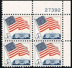 US #1208 Stamps for sale  5 cents Flag over White House Stamps  Plate Block of 4 Stamps  UR 27392  US 1208-3