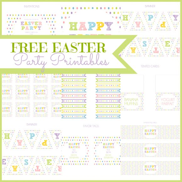 Free polka dot Easter party printables #easter #printables