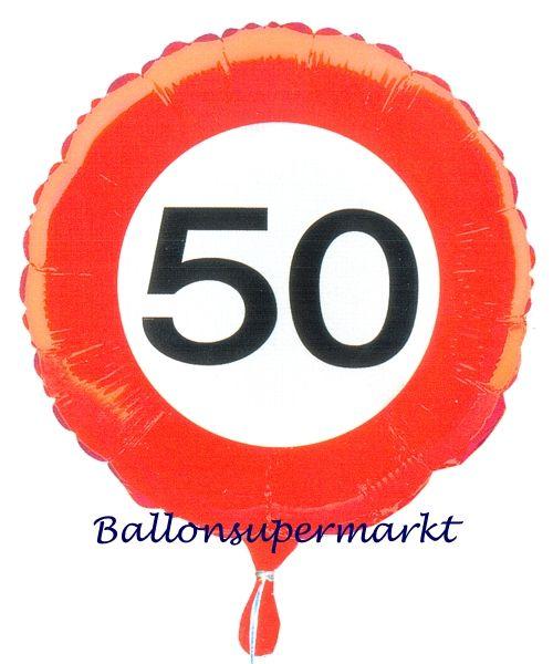 Luftballon aus Folie zum 50.Geburtstag, Verkehrsschild, Zahl 50, mit Helium-Ballongas