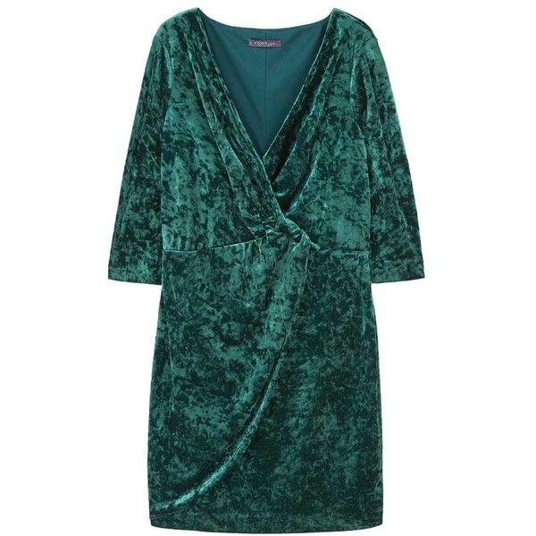 Velvet Crossed Dress ($80) ❤ liked on Polyvore featuring dresses, surplice dresses, ruching dress, mango dresses, shirring dress and 3 4 length sleeve dress
