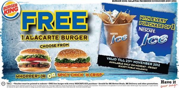 Burger King Free Burger e-Voucher (Promotion period: 1 November 2012 – 23 November 2012)  http://www.mudah.co/burger-king-free-burger-voucher/1205/
