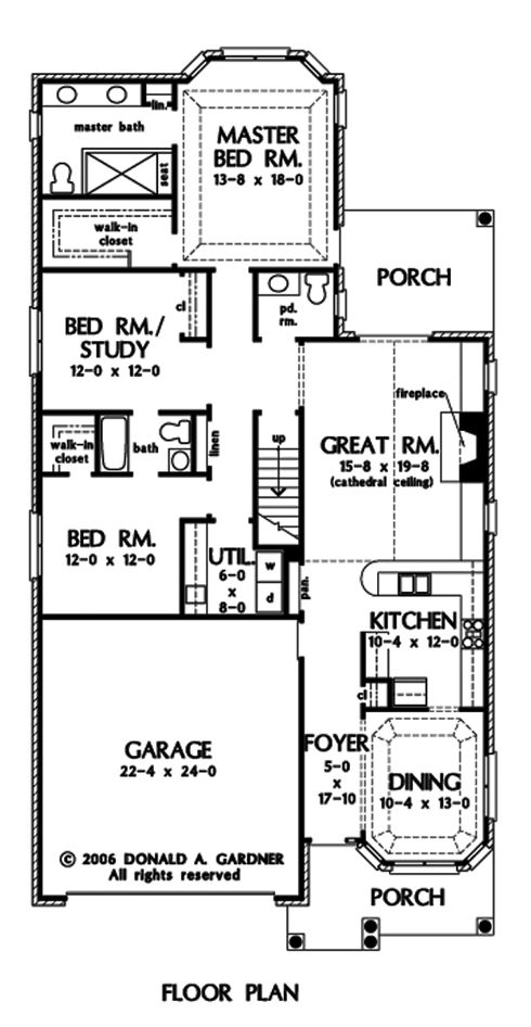 Long narrow ranch house plans for Long and narrow house plans