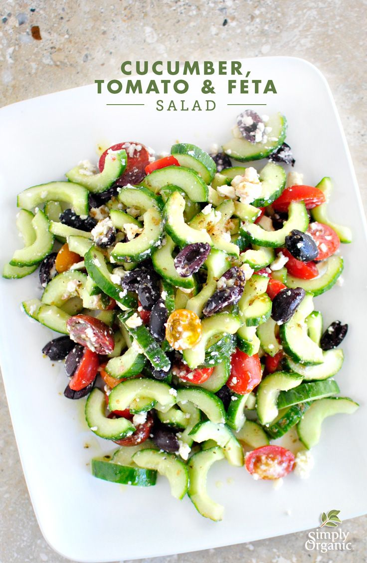 Make an easy greek salad by combining cucumber, tomato & feta with organic oregano and Kalamata olives. It's truly a salad everyone will love! | Simply Organic