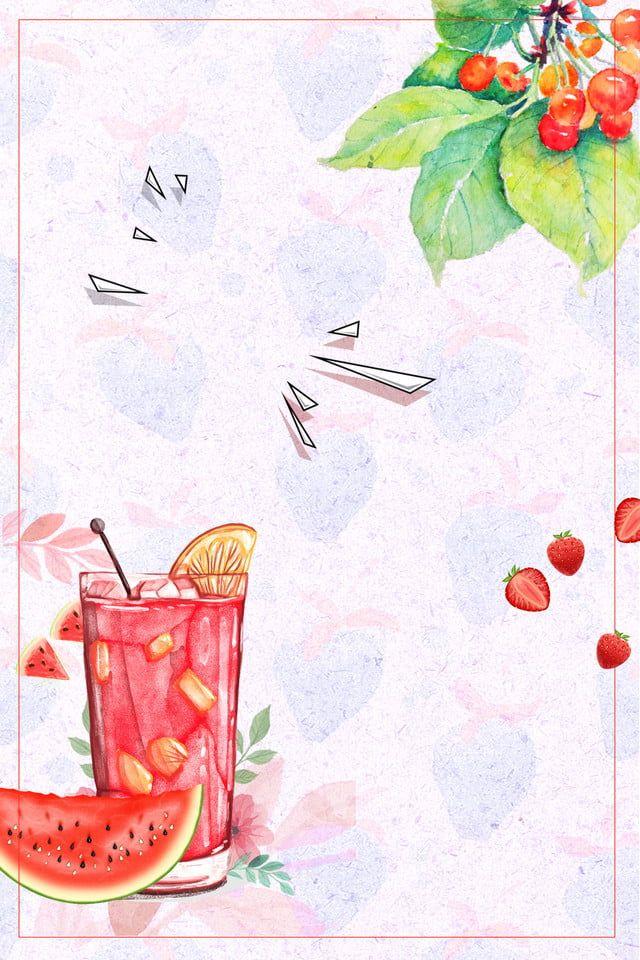 Cartel De Fresa Jugo Dibujado Mano De Verano Fondo De Frutas Fondos De Frutas Dibujos De Frutas Jugo De Fruta