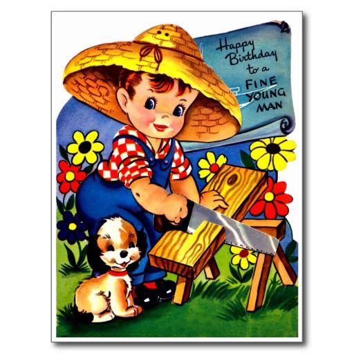 """De Timmerman en de Hond van Little Boy - Retro Gelukkige Briefkaart van de Verjaardag De vintage Retro Kaarten van de Verjaardag voor alle leeftijden.   De grappige, Leuke, Gelukkige Kaarten van de Verjaardag voor kinderen, meisjes en jongens, mamma's en dads, grootmoeder en grootvader, broers en zusters, tantes en ooms, neven… en voor vrienden.  Alle kaarten zijn hersteld, de hersteld de smetten, vlekken en de scheur. Personaliseer als u door te gebruiken """"aanpast het"""" knoop dit wenst. Wij…"""