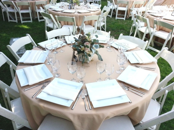 Khaki Tablecloth Ivory Napkins Wedding Reception And Vintage