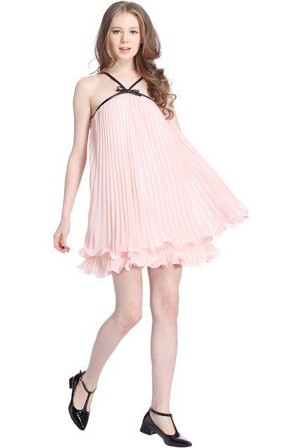 ROMWE Sleeveless Pleated Pink Dress