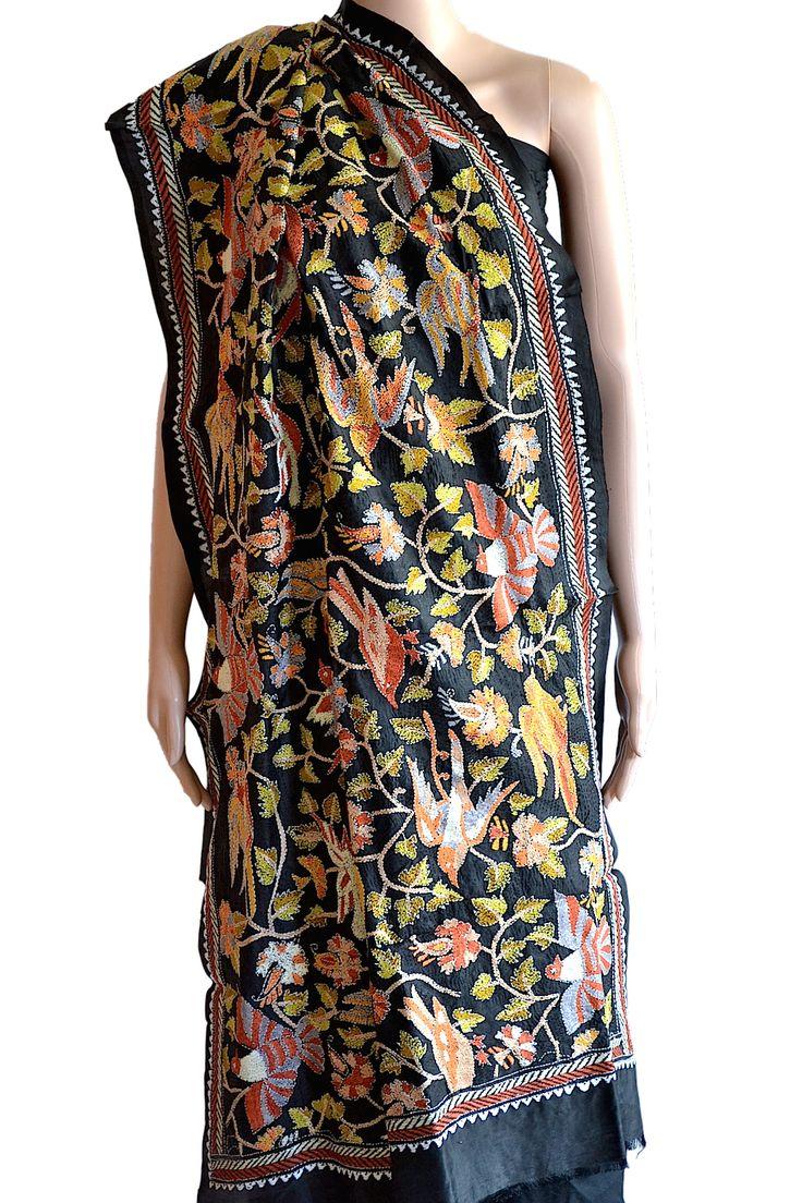 Majestic Black - adorned with colourful hand embroidered bird motifs. Elegant #Kantha work dupatta to team up with a plain kurta. USD 70 (#Fabrics of #India - www.facebook.com/fabricsofindia2013)