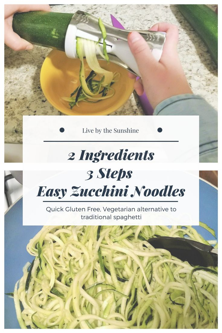 Make Zucchini noodles for a quick and easy gluten free and vegetarian meal. All you need is 2 ingredients and 3 steps later your noodles are ready!