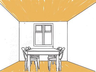 Verbreden Een smal interieur kan je optisch breder laten lijken door zowel het plafond als de vloer donkerder te maken dan de muren. Is de ruimte behalve smal ook laag? Kies dan niet voor een te donkere kleur. Anders krijg je het effect dat het plafond op je af komt.
