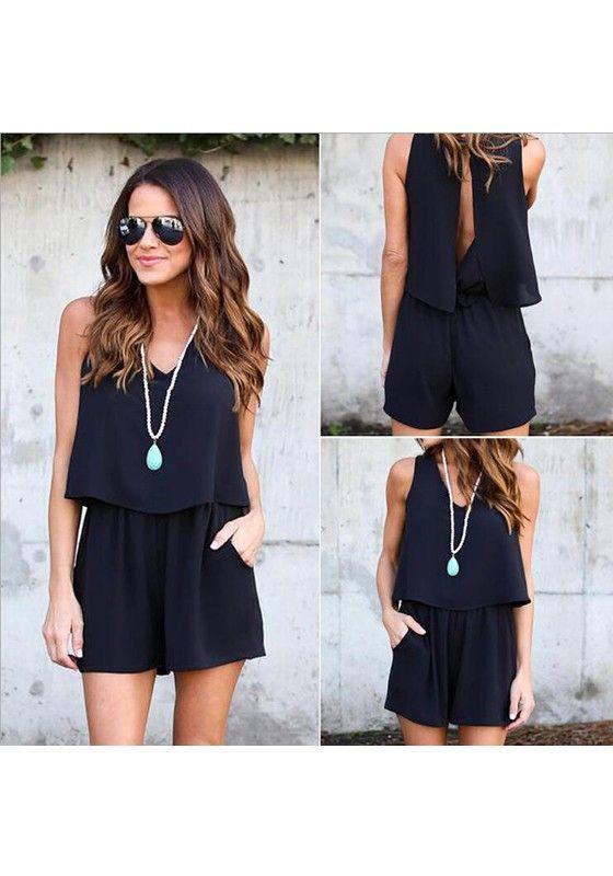 Black Plain Cut Out Pockets Backless Short Jumpsuit