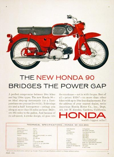 1964 Honda 90cc Motorcycle original vintage ad. A perfect compromise between 50cc and 150cc bikes. Develops 6 1/2 horsepower, swings you along at 55 mph, and acheives 165 miles to the gallon. Priced at only $350.