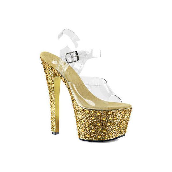 Pleaser Bejeweled-701lp Clr/gold-Blk Size Uk 2 Eu 35 LpcOyuh28z