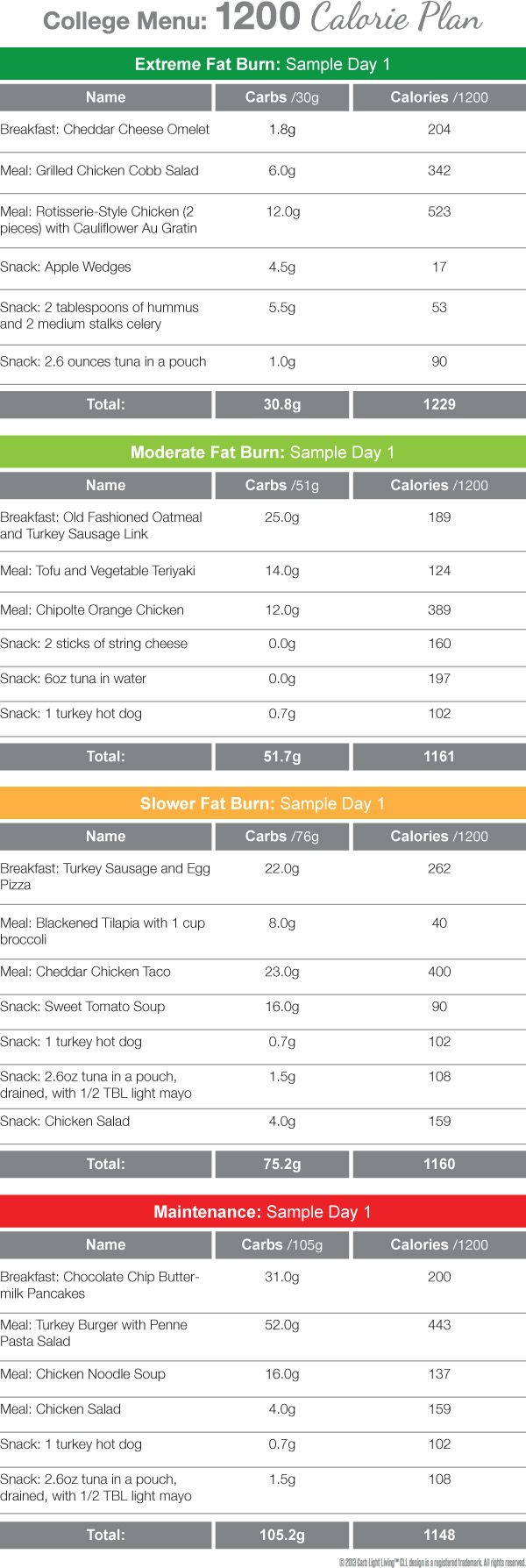Daily Meal Plans: College Menu 1200 calorie menu