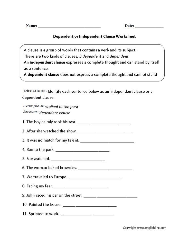 Dependent Or Independent Clauses Worksheet Englishlinx