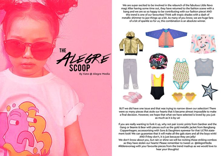 Alegre Media's 'Alegre Scoop' fashion piece in the April/May issue of The Little Revolution Magazine! Read the issue here http://www.thelittlerevolution.co.uk/little-revolution-ss17 #alegremedia