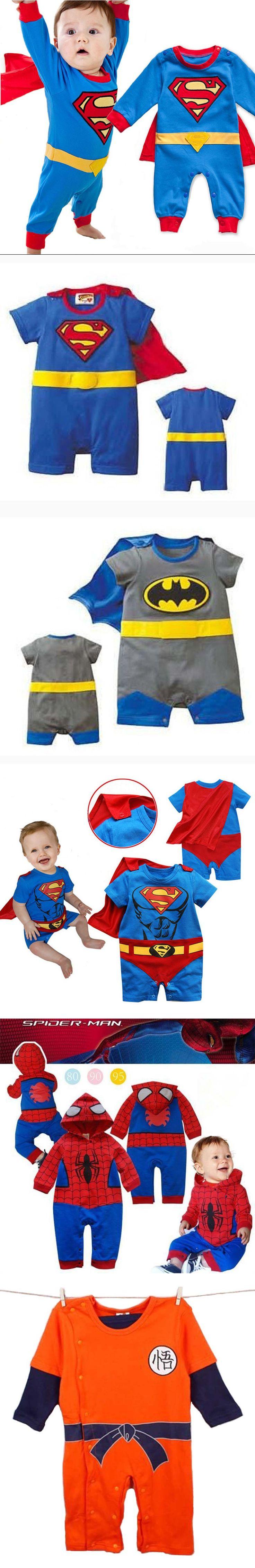 2016 Summer Newborn Baby Costume Baby Rompers Superhero Superman Cotton Baby Boy Girl Rompers Newborn Baby Clothes