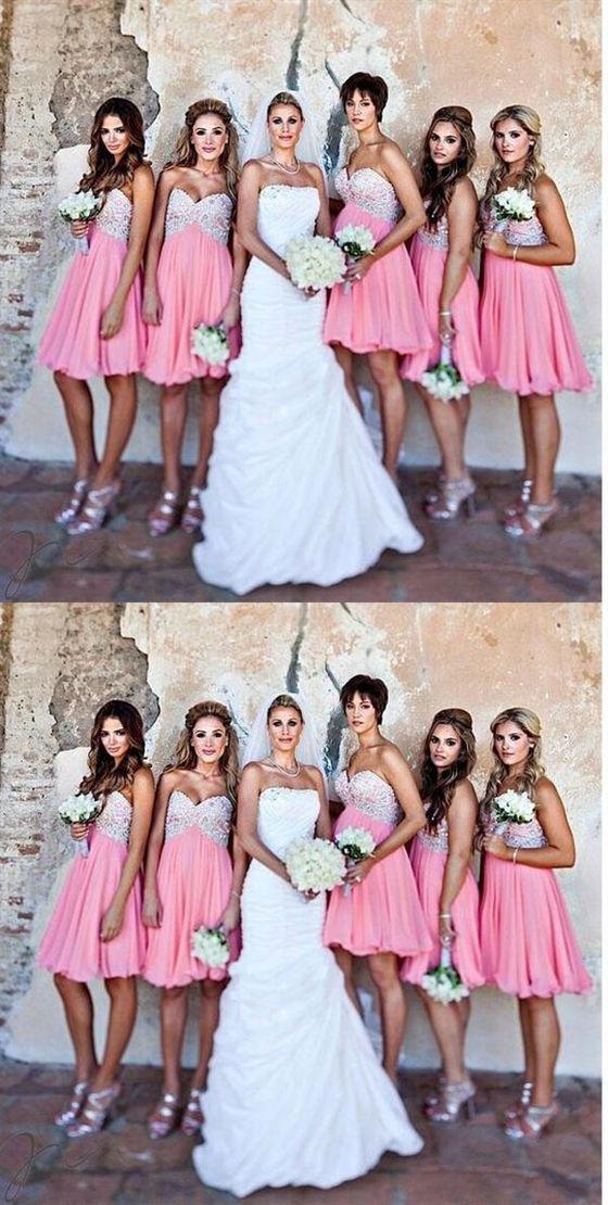 ec769eecd0d9 Sweet Pink A Line Sleeveless Sweetheart Knee Length Chiffon Bridesmaid  Dresses Evening Dresses #SweetPink #